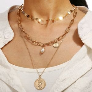 MULTI LAYERED COIN & PEARL NECKLACE